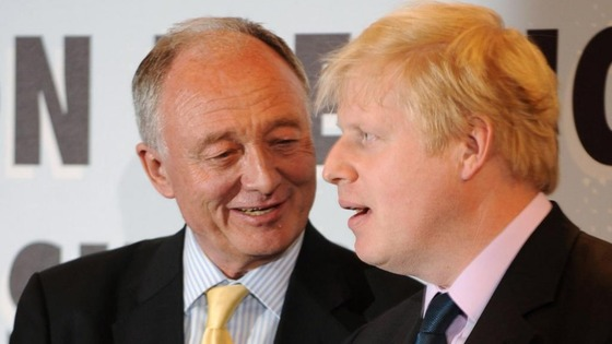 London Mayor Boris Johnson with rival Ken Livingstone