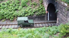 The Land Rover entering the tunnel between Bewdley and Kidderminster