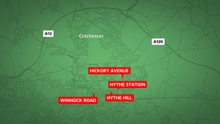 There were four knife-point robberies in Colchester overnight.
