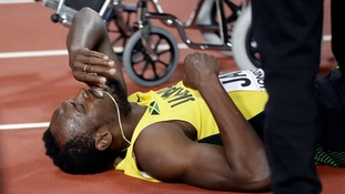 Britain wins gold as Bolt pulls up injured in the final major race of his career