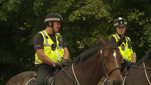 Police on horseback have been offering reassurance to people in the nearby village.