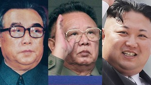 Kim Il-sung (l), Kim Jong-il (c) and Kim Jong-un (r).