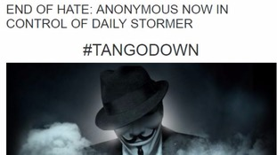 The post claiming the site had been taken over by Anonymous-linked hackers.