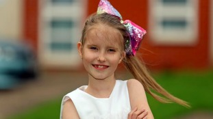Girl, 8, makes miracle recovery after being born with organs outside her body
