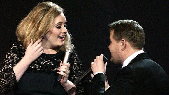 James Corden cuts short Adele's acceptance speech for Album of the Year, during the 2012 Brit Awards