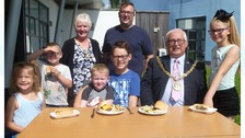 Hartlepool Mayor and Mayoress, Councillor Paul Beck and Mary Beck are pictured with Stephen Akers-Belcher and children at the holiday club