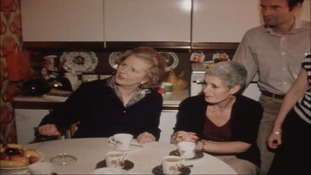 Margaret Thatcher visiting the home of a couple who bought their home through the Right to Buy scheme in the eighties.