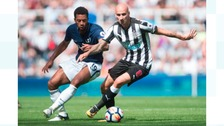 Newcastle United's Jonjo Shelvey (right) and Tottenham Hotspur's Mousa Dembele (left) battle for the ball.