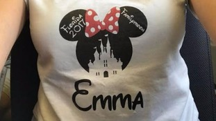 Emma and her family were turned away from the Aspire Lounge for wearing Minnie Mouse t-shirts.