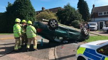 Appeal to find occupants of empty overturned car