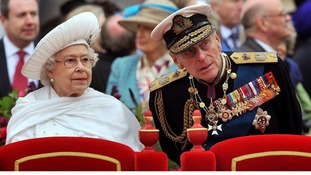 The Queen and Duke of Edinburgh at the the Diamond Jubilee River Pageant