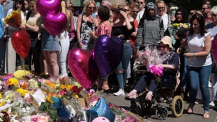 Flowers laid after Manchester bombing.