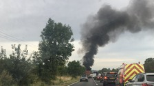 Bin lorry fire closes part of A34 in Oxfordshire