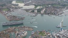 Thousands welcome HMS Queen Elizabeth into Portsmouth