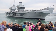 HMS Queen Elizabeth docks at new home for first time