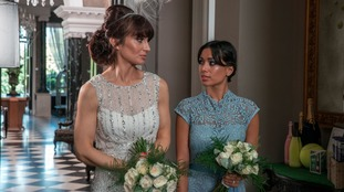 Emmerdale's Leyla and Priya in their wedding outfits