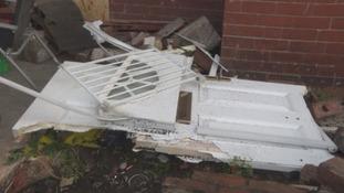 Extensive damage to the front door