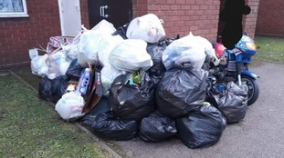 The rubbish has been building up since strike action started seven weeks ago