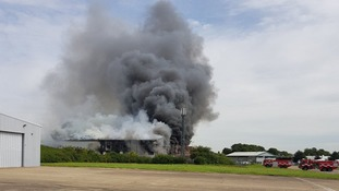 Southend Airport remains open as crews tackle fire