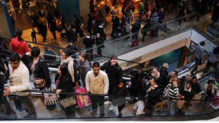 Christmas shoppers in Westfield shopping centre in Stratford