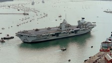 HMS Queen Elizabeth, the UK's newest aircraft carrier, which arrived in Portsmouth this morning.
