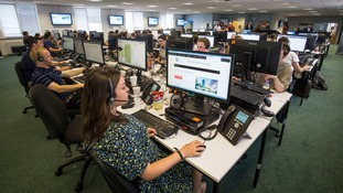 Inside a clearing call centre.