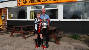 Former player Derrick Davis got a chance to hold the FA Cup trophy with his grandson.