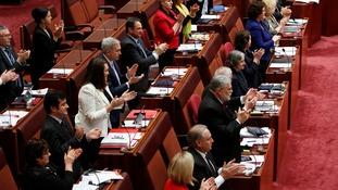 Senators applaud Mr Brandis' slapdown to Ms Hanson.