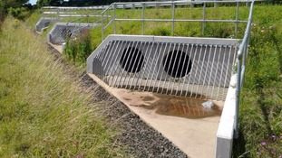 Drainage culverts under the road show the carriageway has been raised