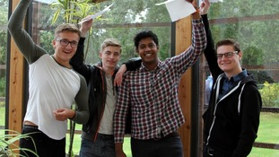 Pupils at Paston School in North Walsham celebrate their results
