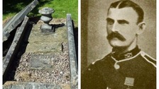 Vandals destroy grave of war hero