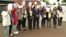 Students and staff celebrate at Toll Bar MAT Sixth Form in Grimsby.