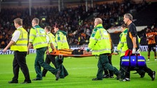 The striker was stretchered off on Tuesday night.