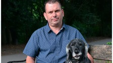 Tim Hazlehurst was confronted by a knife-wielding robber as he walked his dog, Buddy.