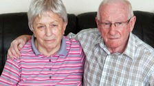 Joseph and Sylvia Mulvey's car was damaged after a ladder was dropped out of a tower block window.