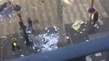 Several wounded after van ploughs into crowds in Barcelona