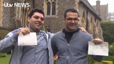 Syrian refugees celebrate their A-level results