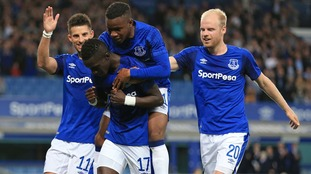 Everton take 2-0 first leg advantage against Hajduk Split amid crowd trouble at Goodison Park