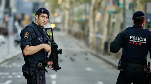 A van rammed people in Barcelona's Las Ramblas district.
