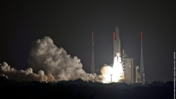 he Skynet 5 satellite takes off in South America
