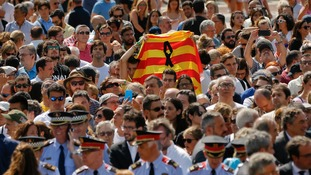 Thousands gathered for the minutes silence in Barcelona's main square