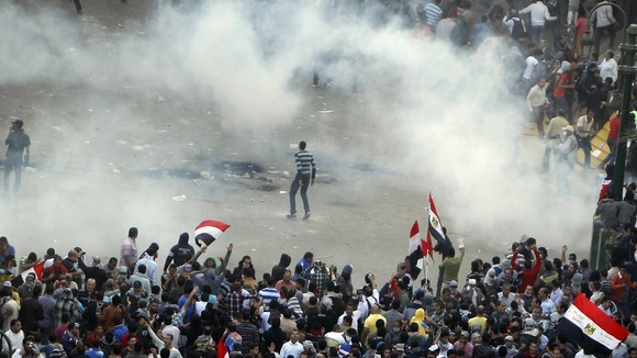Anti-Mursi protesters in Tahrir Square in Cairo in November 2012