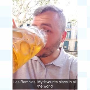 Ryan Davey was enjoying some beer on Las Ramblas minutes before the terror attack
