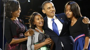 President Obama celebrates with his family at their election night victory rally in Chicago, November 7, 2012