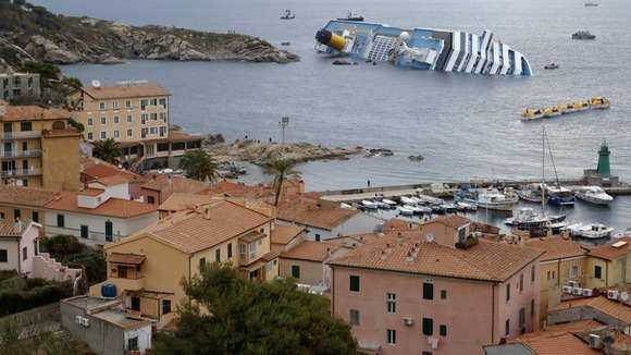 The Costa Concordia ran aground off the west coast of Italy in January 2012