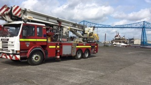 Fire engines near the Transporter Bridge