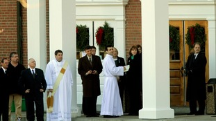 The funeral of six-year-old Catherine Hubbard took place at Saint Rose of Lima Roman Catholic Church in Newtown