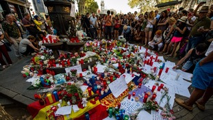 Memorial tribute to the victims on Las Ramblas, the scene of a terror attack that killed 13.