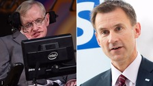 Hunt denies Hawking's scientific research 'abuse' claims