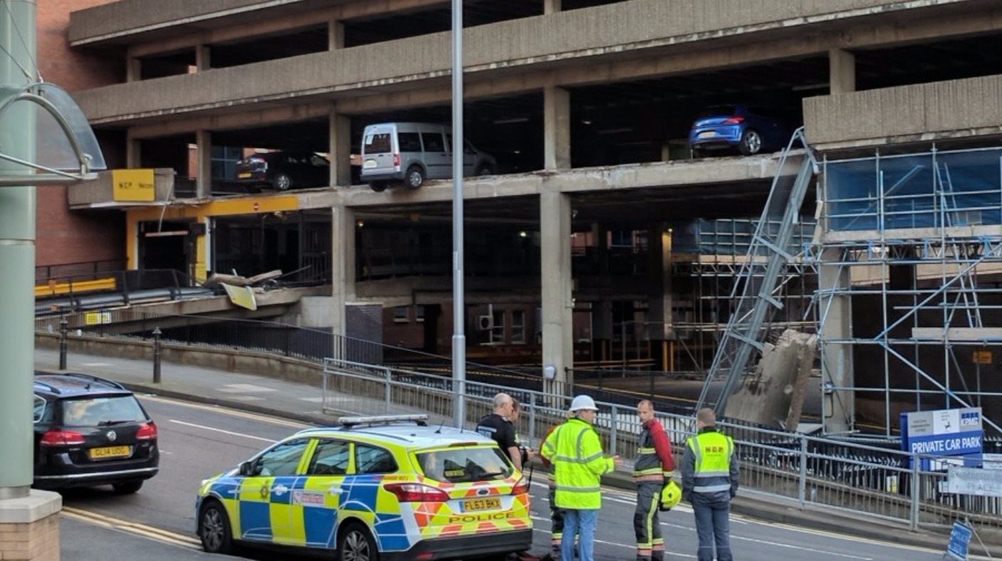 part of ncp car park collapses in nottingham city centre central itv news. Black Bedroom Furniture Sets. Home Design Ideas